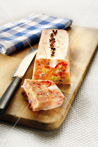Fish, tomato, red bell pepper and Sechuan pepper terrine
