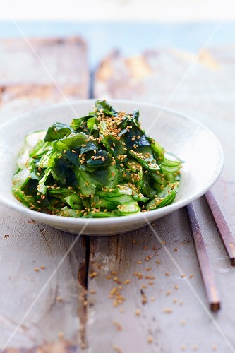 Cucumber and sesame seed organic salad