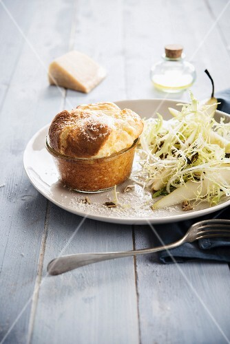 Goat's cheese soufflé, frisee lettuce with pear