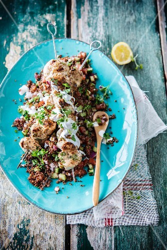 Quinoa tabbouleh with chicken skewers