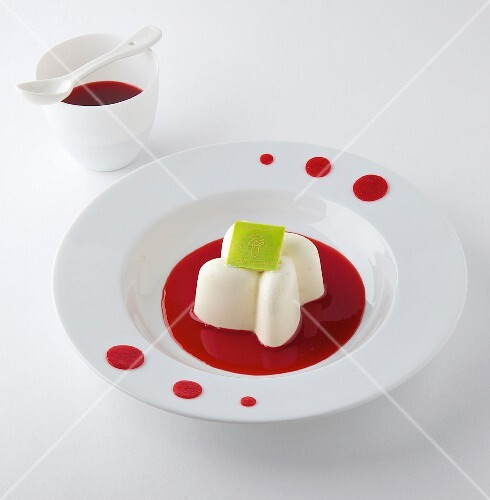 Lemon Parfait with raspberry puree