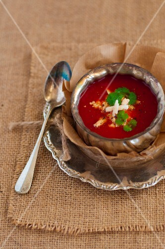 Tomato soup with Paneer cheese