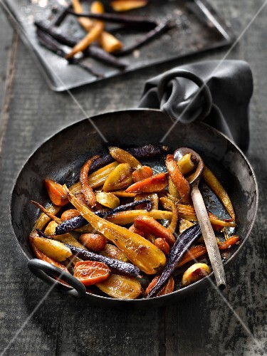 Root vegetables roasted with maple syrup