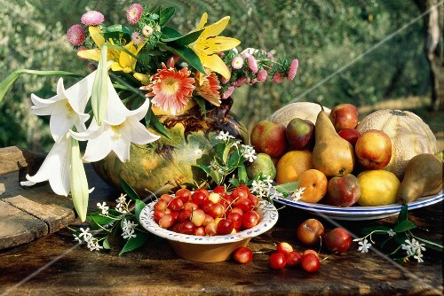 Outdoor Fruit and Flower Still Life
