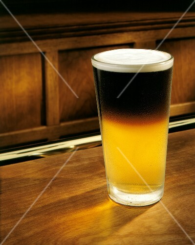 Black and Tan (light and dark beer) in glass
