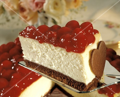 Cheesecake with cherries and chocolate heart