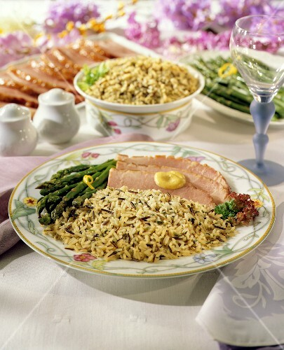 Baked Ham with Rice Pilaf & Asparagus