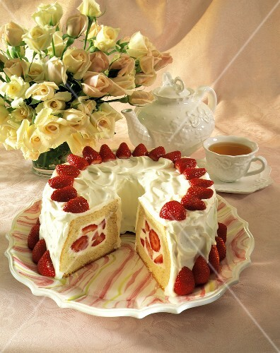 Strawberry Cake with White Frosting; Tea and Roses