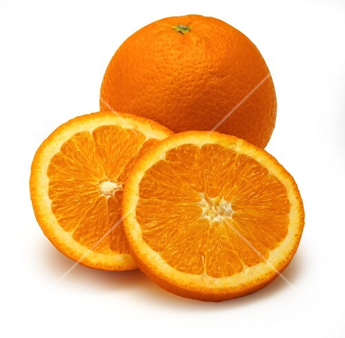 A Whole and a Halved Navel Orange