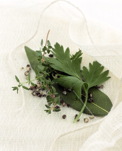Bouquet garni on muslin with kitchen string