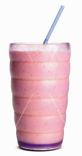 A Strawberry Smoothie with a Blue Straw