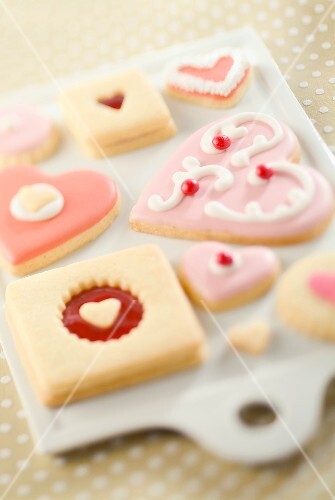 Valentine Themed Cookies on Cutting Board