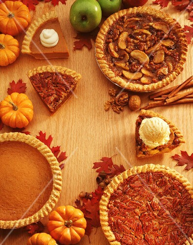 Three Pumpkin Pies in Fall Theme
