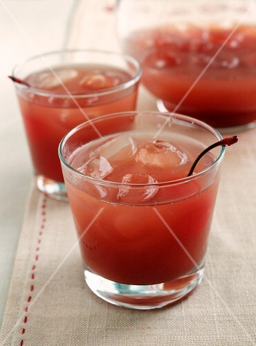 Tomato Juice Cocktails with Cherries, Pitcher