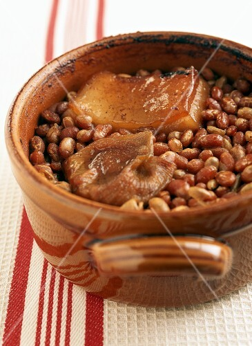 Pot of Homemade Baked Beans with Pork Fat