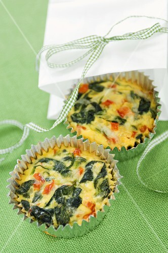 Two Mini Spinach Quiches In Muffin Cups, Paper Bag with Ribbon