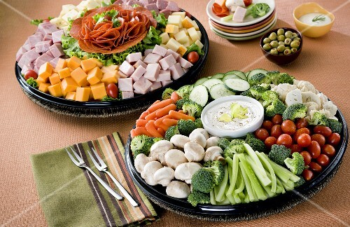 Two Party Platters;Vegetable Tray and Cold Cut Tray – StockFood
