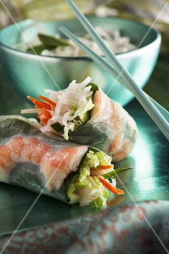 Fresh Spring Rolls with Shrimp and Basil; Chopsticks