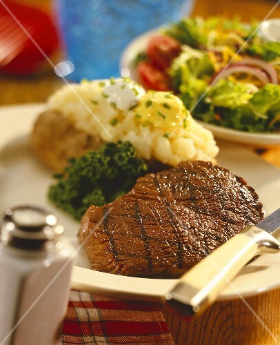 Grilled Steak with Baked Potato; Side Salad