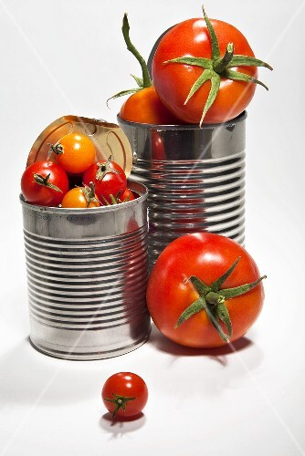 Various types of fresh tomatoes in food cans