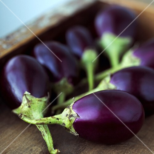 Baby Eggplants in Wooden Box