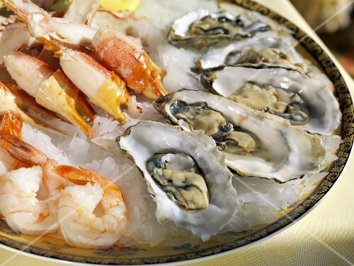 Seafood Platter on Ice; Shrimp, Oysters and Crab