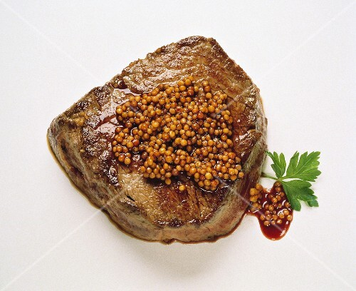 Steak with Mustard Seeds