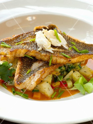 Sea Bass Fillets with Chives Over Warm Mixed Vegetables