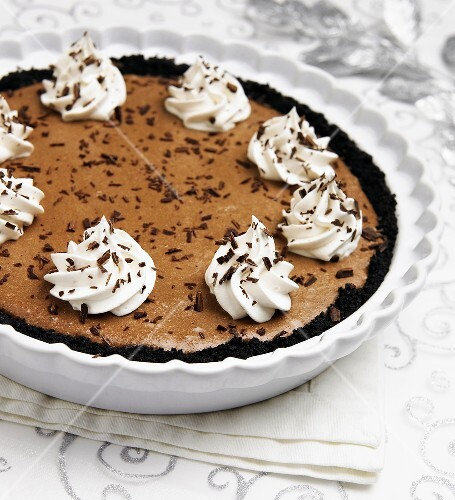 Whole Mocha Mousee Pie with Whipped Cream