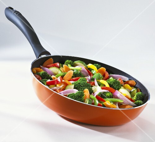 Mixed Vegetables in a Red Skillet