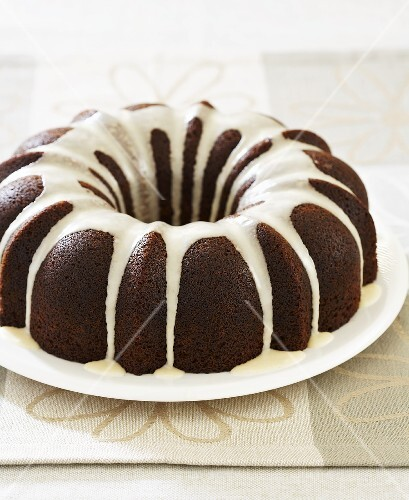 Gingerbread Bundt Cake with White Icing Drizzles