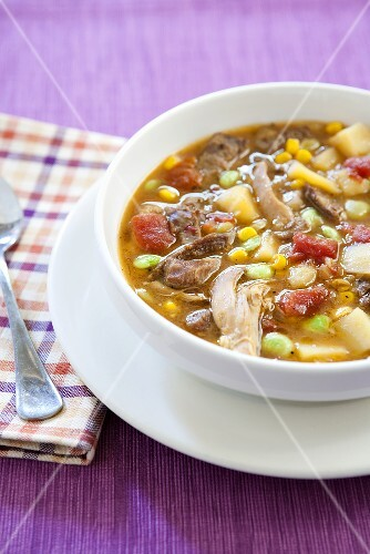 Kentucky Burgoo; Lamb, Chicken, Corn and Lima Bean Soup