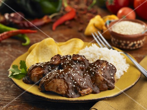 Chicken with mole, rice and corn tortillas (Mexico)
