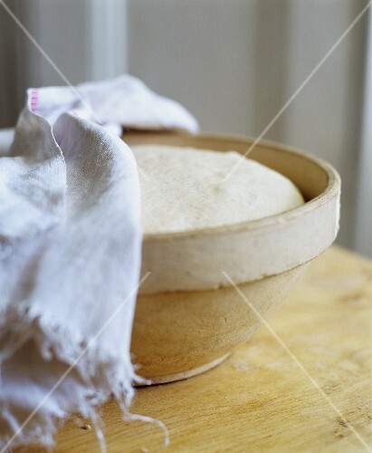 Rising Dough in a Bowl with Towel