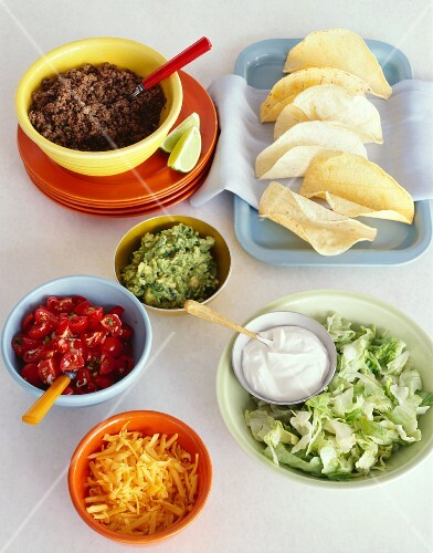 Ingredients for Beef Soft Shelled Tacos