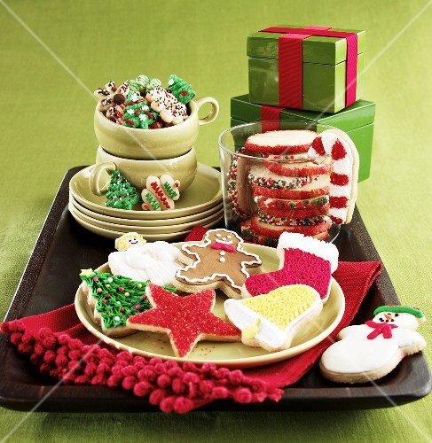 Large Assortment of Christmas Cookies with Gift Boxes