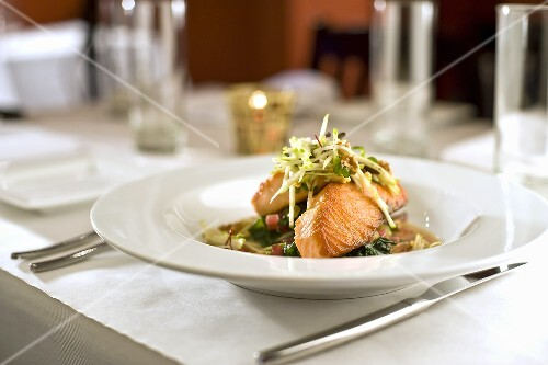 Tasmanian Wild Caught Salmon on a Bed of Spinach in Broth