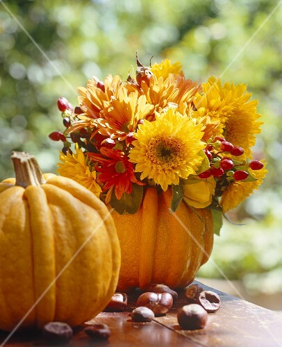 Pumpkins make an unusual autumnal vase