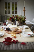 Fall Table Setting Red