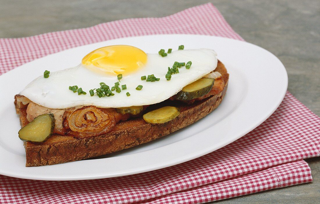 Rye bread topped with pork escalope and fried egg