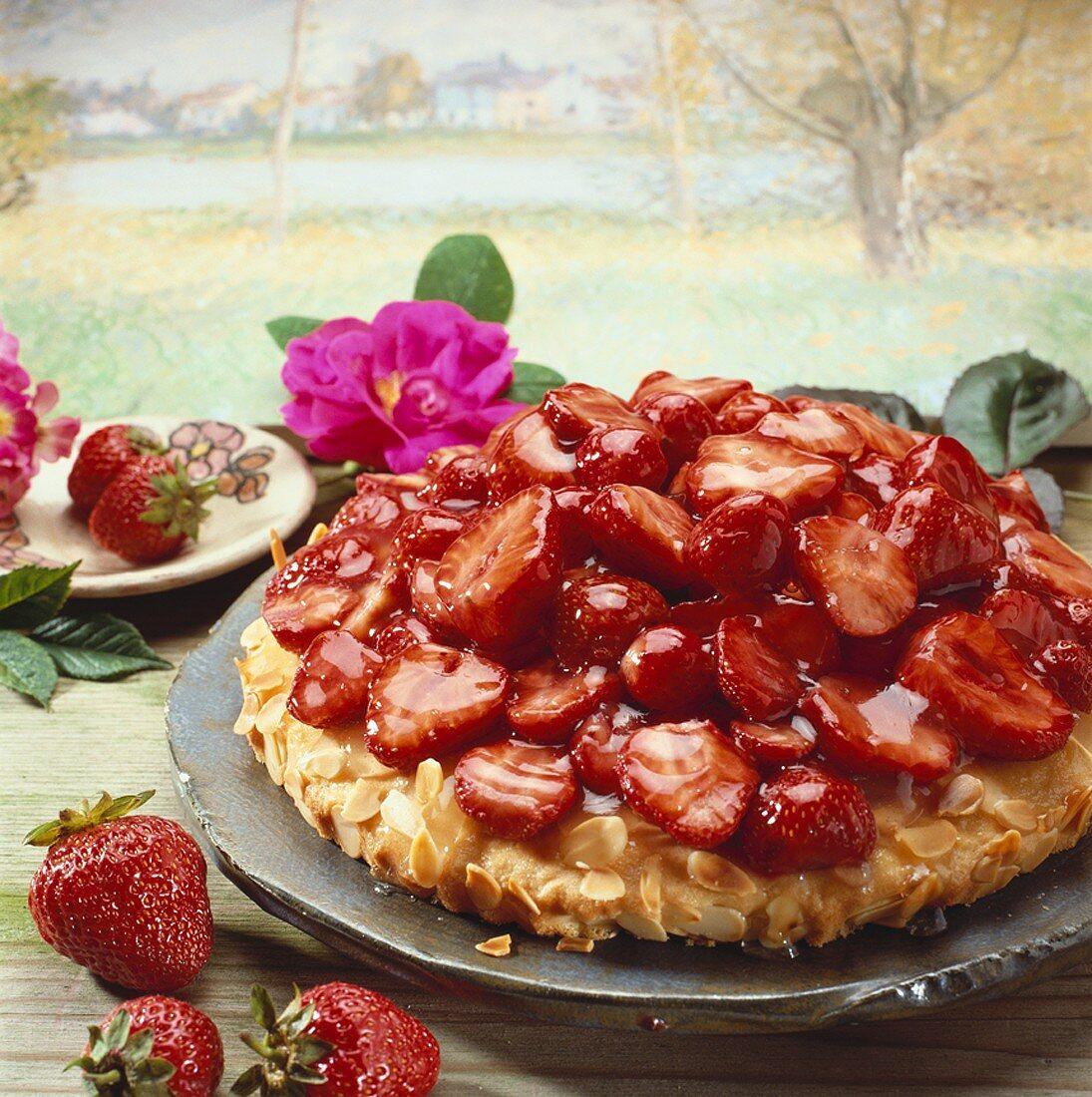 A strawberry torte