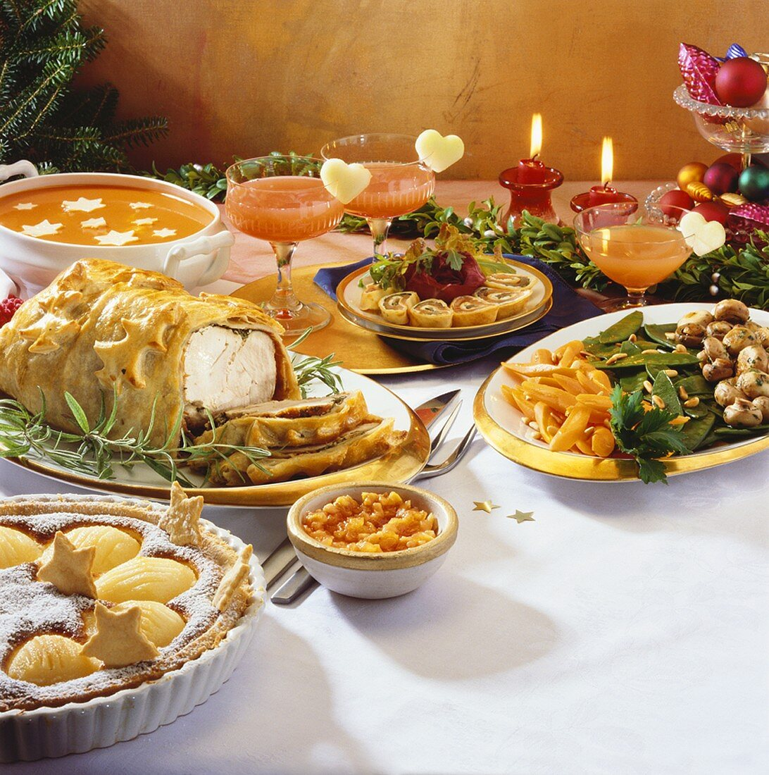 Christmas buffet with turkey en croûte