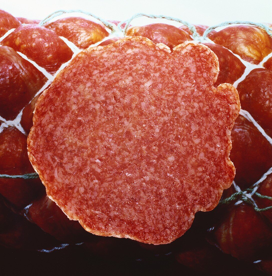 Slice of salami (close-up)