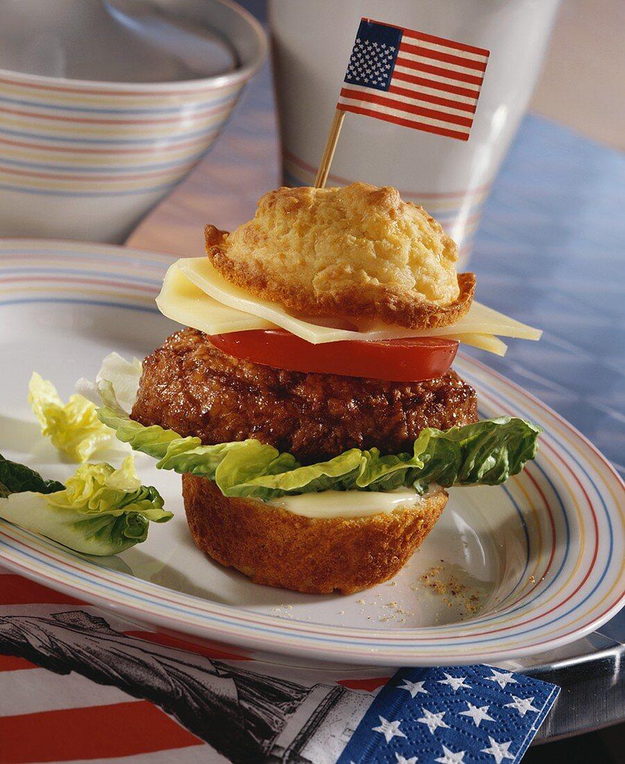 Muffin hamburger with US flag