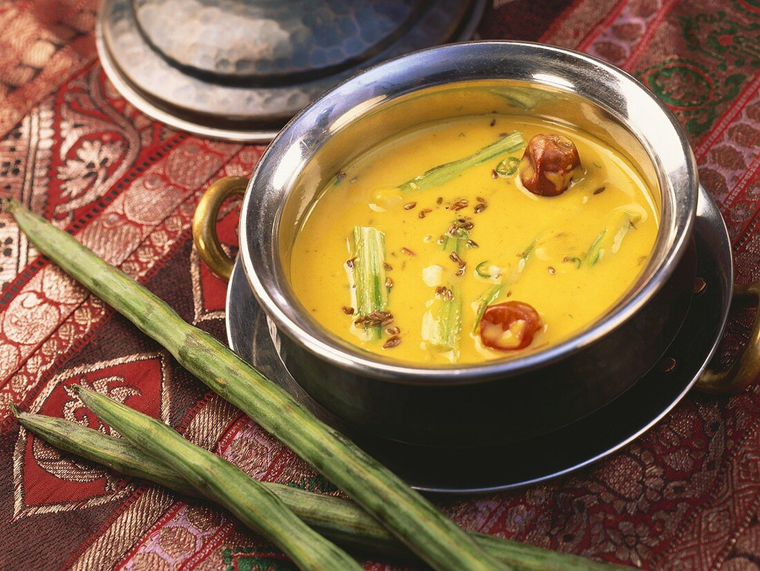 Besan Ka Pithla (Drumsticks in chick-pea flour curry, India)