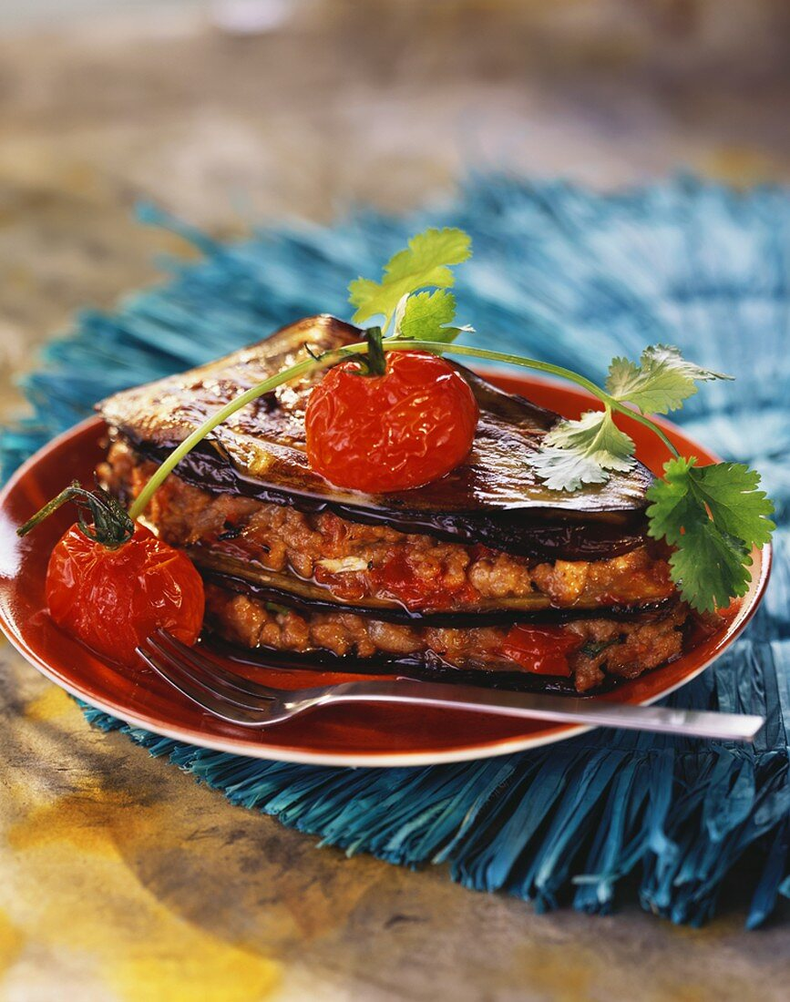 Moussaka (Baked mince and aubergine dish, Greece)