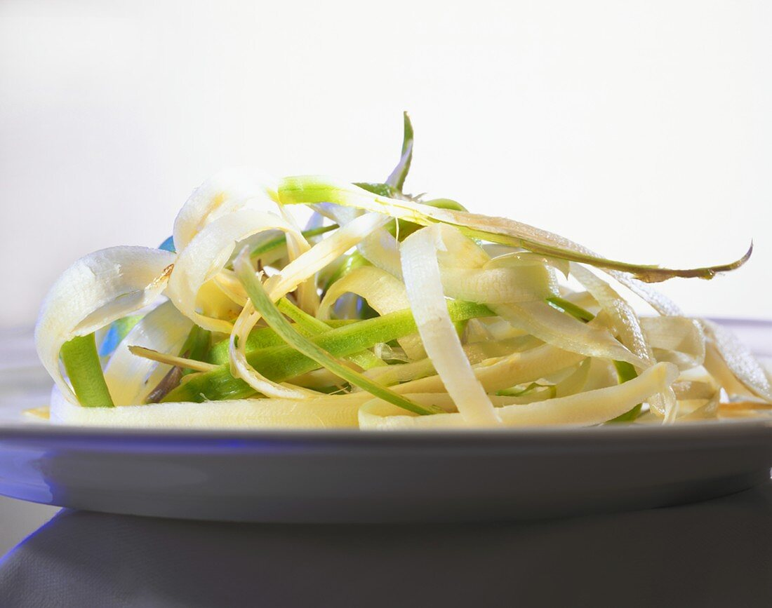 Asparagus peelings on a plate