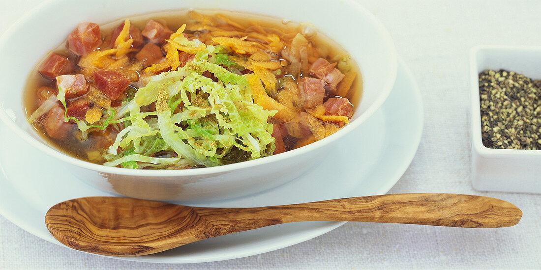 Savoy cabbage stew with chorizo