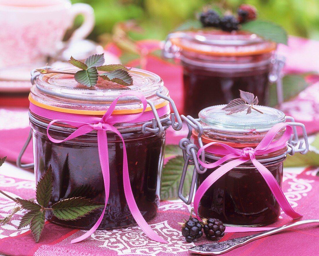 Home-made blackberry jam in preserving jars