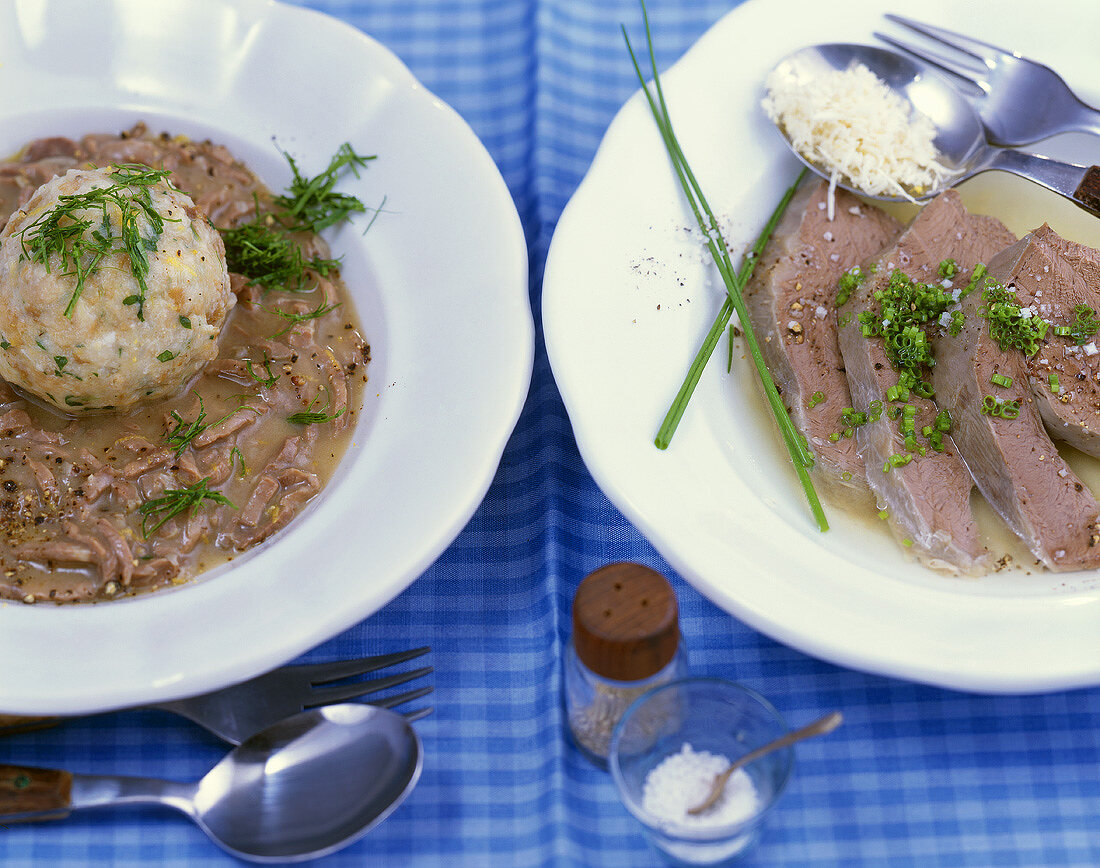 Saures Lüngerl (veal lung) & dumpling, Saures Herz (heart) (Bavaria)